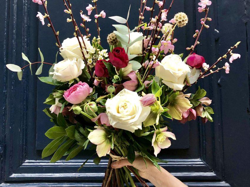 bouquet de fleurs fraiches champêtre pastel